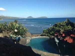 Successful Blogger In Pool In Hawai