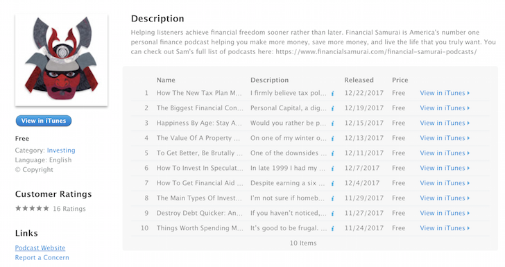 Financial Samurai podcast iTunes