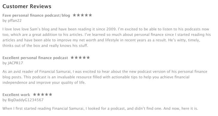 Financial Samurai podcast reviews