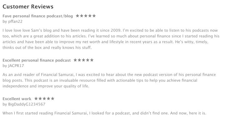 Financial Samurai podcast reviews